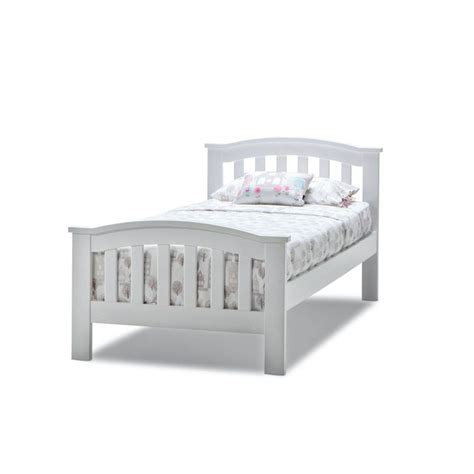 Leah Single Size Solid Timber Bed Frame In White Buy Single Timber Bed Frame