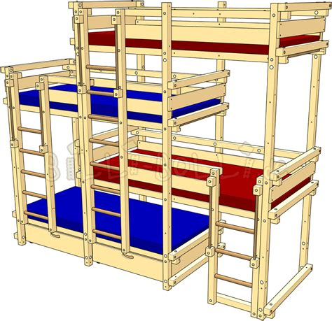 Four Bed Bunk Bed Bed Laterally Staggered For Four Billi Bolli Furniture