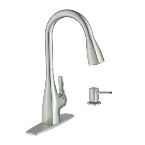 moen kitchen sink faucets shop moen kiran spot resist stainless 1 handle pull down