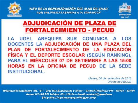 adjudicacin de plazas del minedu 2016 mi 233 rcole 7 de setiembre adjudicaci 243 n de plaza de plan de