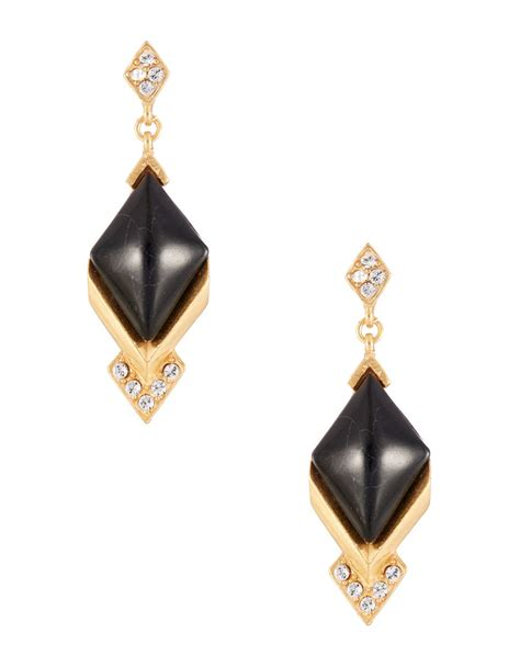 gerard yosca glass drop earrings in metallic lyst
