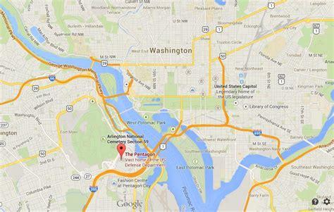 washington dc map pentagon the pentagon on map of washington dc world easy guides