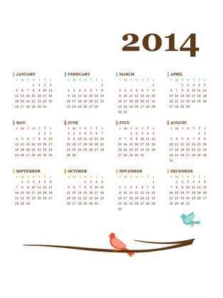 2014 annual calendar office templates