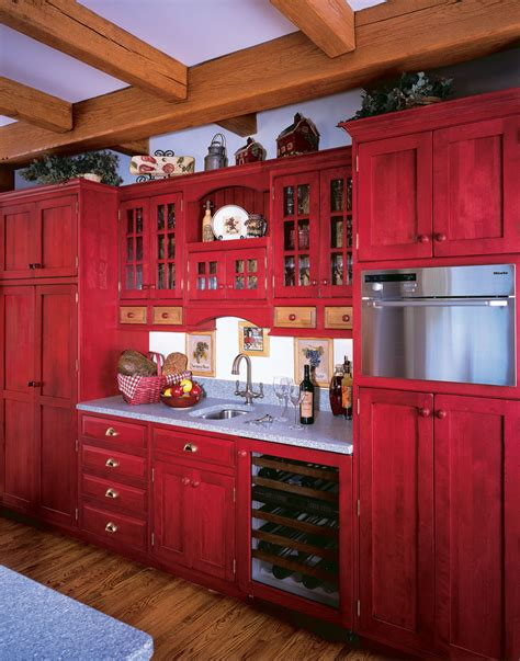 red painted kitchen cabinets red painted kitchen cabinets kitchen farmhouse with drawer