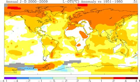 of which color the highest surface temperature nasa 2009 second warmest year on record end of warmest