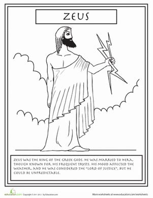 coloring page of zeus greek gods zeus interesting facts worksheets and