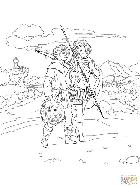 Jonathan And David With Head Of Goliath Coloring Page David And Jonathan Coloring Page
