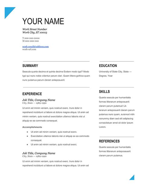 Resume Template In Pdf Format best cv sles template 2018 in ms word pdf format