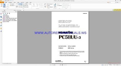 Komatsu Pc58uu 3 Hydraulic Excavator Shop Manual
