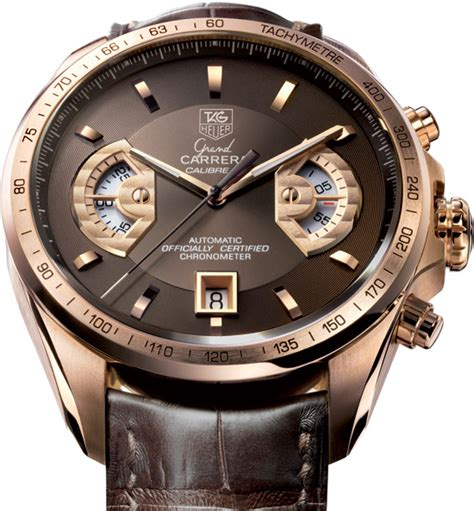 Tagheuer Calibre 16 Rosegold Blue Brown Leather tag heuer grand calibre 17 pink gold specs pictures watches news