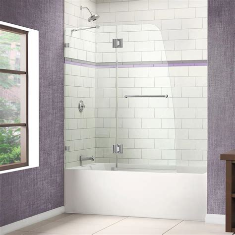 Frameless Tub Glass Doors Dreamline Aqua 48 In W X 58 In H Frameless Hinged Tub Door In Brushed Nickel Shdr 3348588