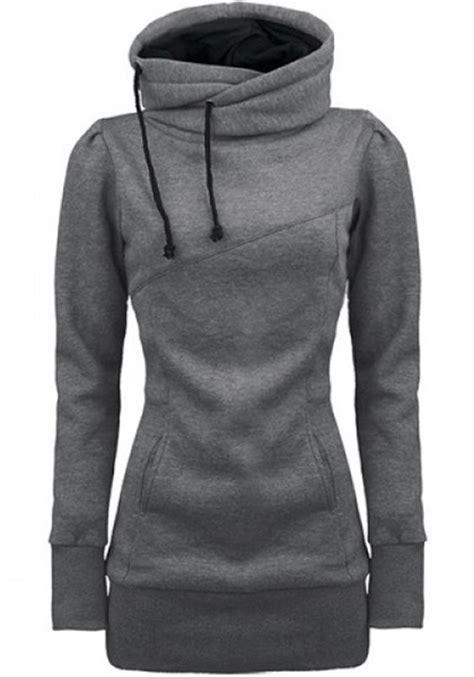 Drawstring Hooded Pocket Pullover grey plain drawstring pockets cowl neck plus size hooded