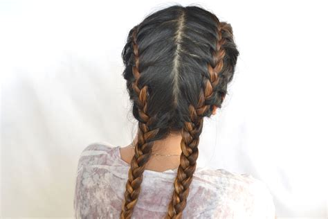 how to do two french braids wit weave how to do double french braids with pictures wikihow