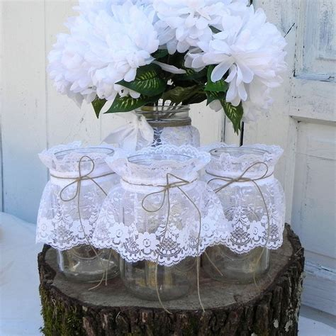 3 Rustic Lace Mason Jars Wedding Table Decoration by