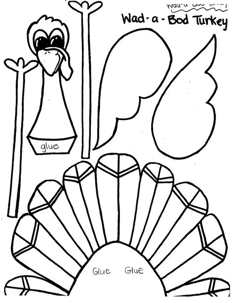 printable turkey cut and color printable thanksgiving crafts and activities for kids