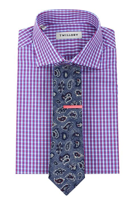 check shirt designer paisley tie pink tie bar combo