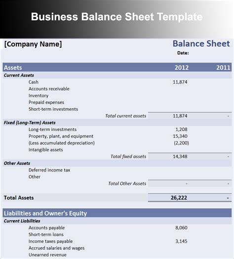 corporate balance sheet template balance sheet template free excel word documents
