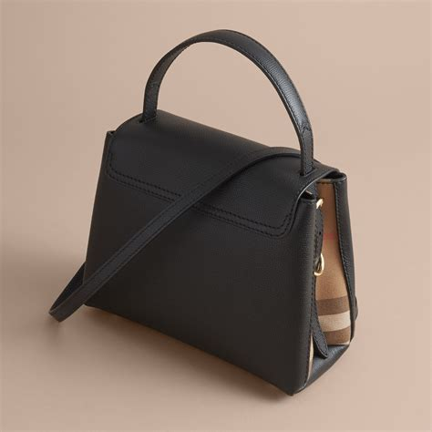 Handbag Burberry D4487 1 small grainy leather and house check tote bag in black