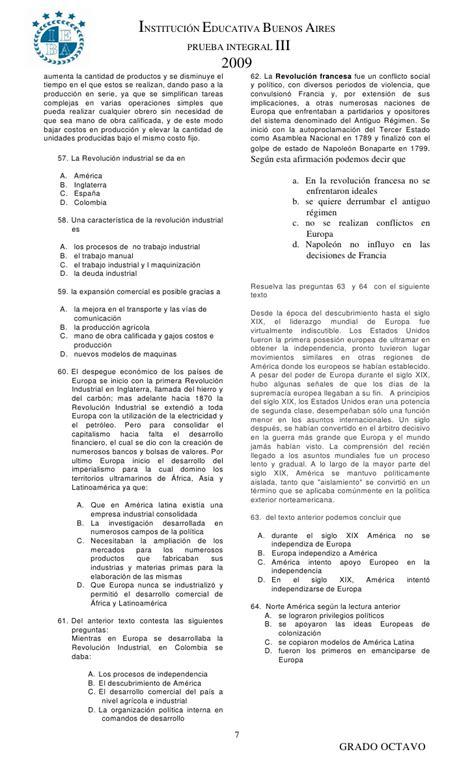 preguntas y respuestas tipo icfes sobre la revolucion industrial tercera prueba integral grado octavo 2009