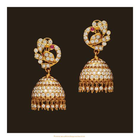 jhumka design images diamond jhumka design from vbj south india jewels