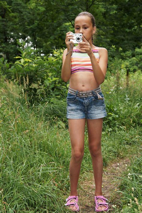 naughty preteens preteen girl with digital camera stock photo image of