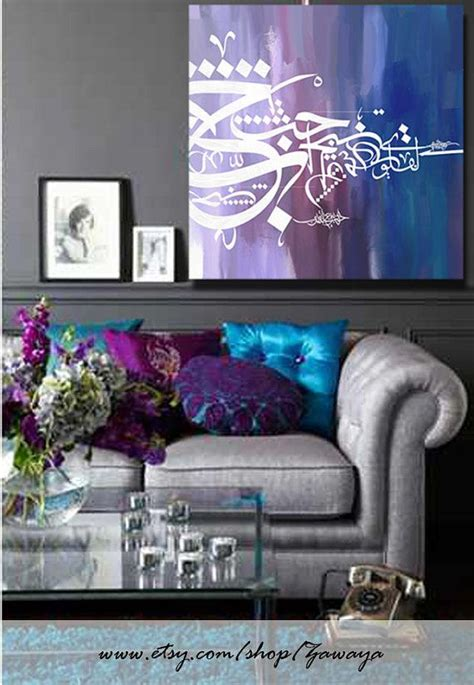 home decor purple home decor oil painting canvas print white blue navy purple interior design wall art arabic