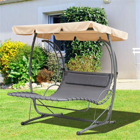Hammock Swing Bed by Outdoor Garden 2 Person Hammock Swing Bed Metal W Canopy
