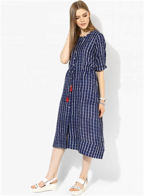 Purchase   Global Desi Navy Blue Coloured Checked Maxi Dress   510337