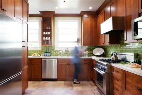 Green Kitchen Backsplash Tile Traditional Kitchen Bathroom With Craftsman Influences