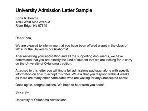 School Admission Letter In Letter Of Admission