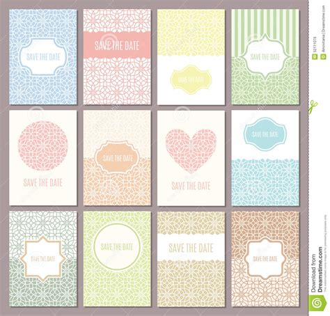 pastel color card templates wedding invitations set stock vector illustration of