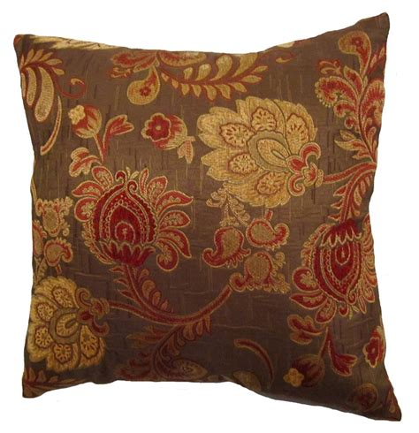 Pillow Covers 20x20 by 20x20 Burgundy And Gold Floral Brocade Decorative Throw