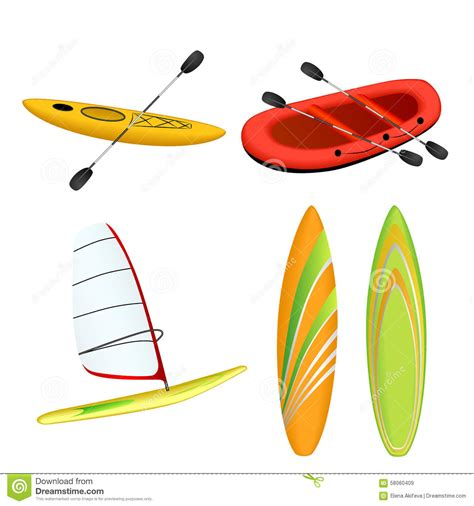 yellow kayak books windsurfing illustrations vector stock images