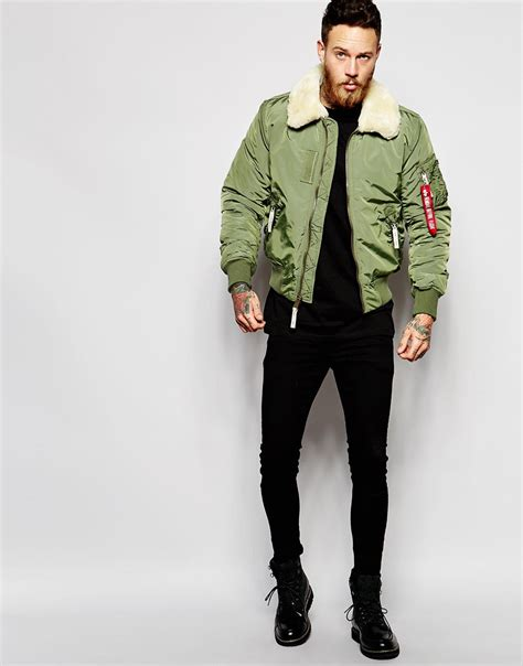 men s lyst alpha industries shearling trimmed bomber jacket in