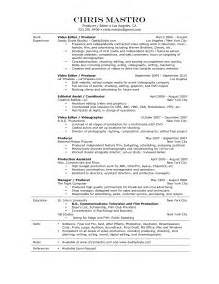 Television Production Assistant Sle Resume by Production Assistant Resume Template Http Www Resumecareer Info Production