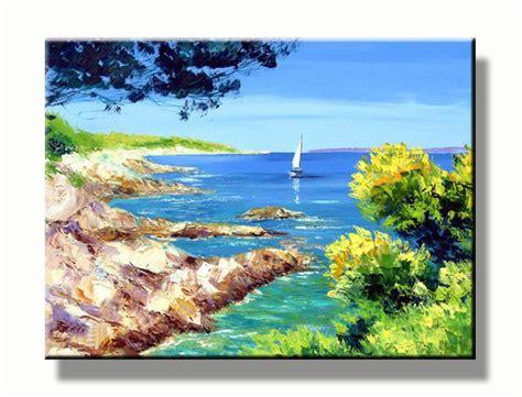 zeilboot op zee landschap schilderij zeilboot op zee baai