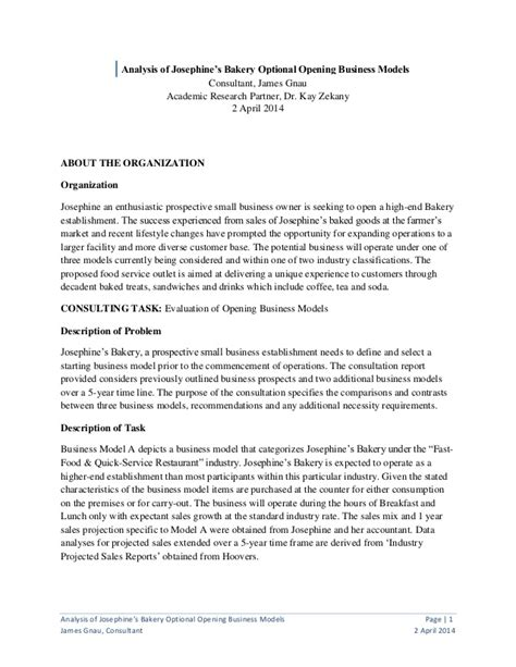 Management Consulting Report Templates Josephine Bakery Consult Report
