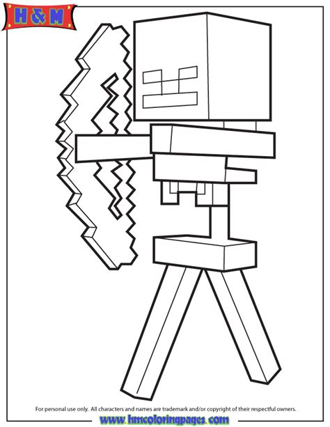 mindcraft coloring pages free coloring pages of minecraft bows arrows