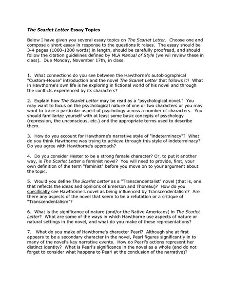 The Scarlet Letter Analysis Essay by Scarlet Letter Essay Topics Illustrative Essay Ideas Cover Letter Exle And Illustration