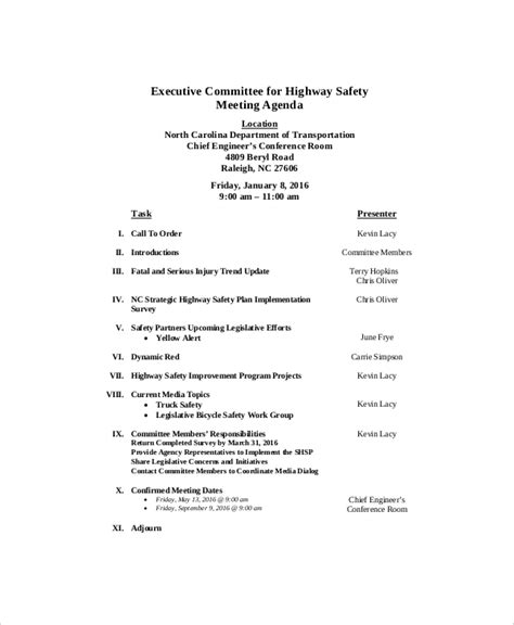 12 safety meeting agenda templates free sle exle