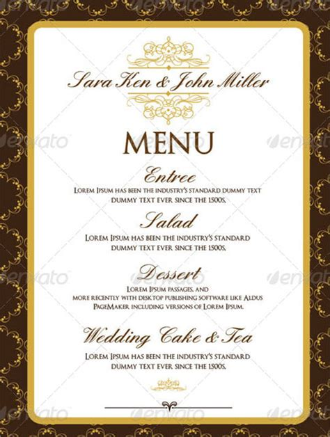 sle wedding menu template event menu template 28 images sle event menu template