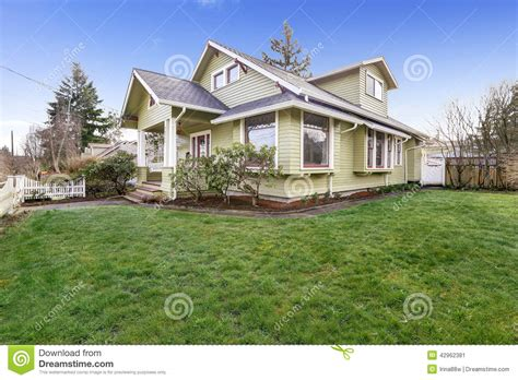 What Does A Green Light Outside A House by Light Green House Exterior With Column Porch Stock Image Image 42962381