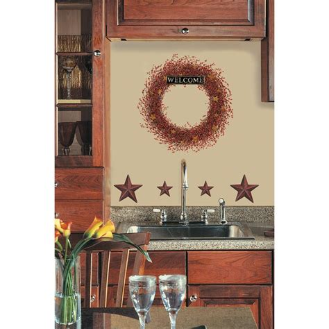 Rustic Star Home Decor new berry vines wreath stars wall decals country kitchen