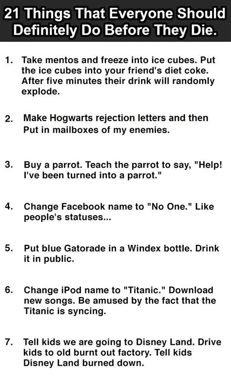 ten things you must do before you die the ultimate list books 21 things everyone should do before they die 12 is