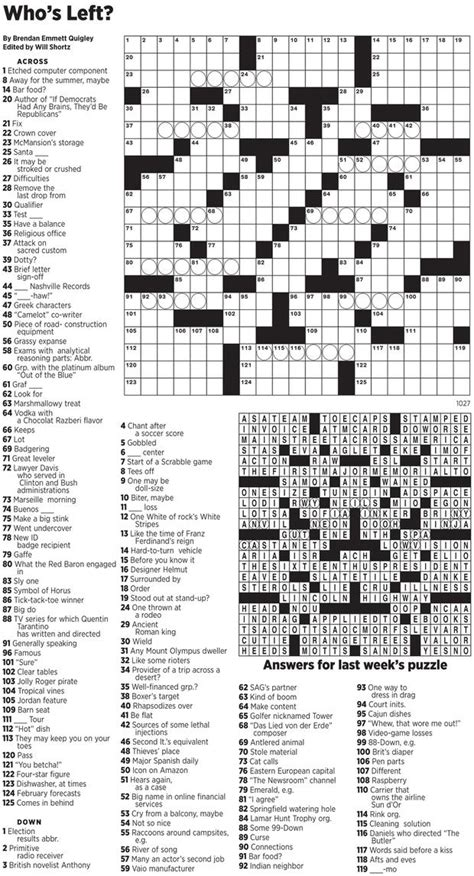 Nytimes Crossword Printable