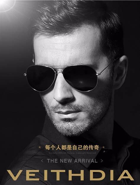 veithdia kacamata pria aviator uv polarized black