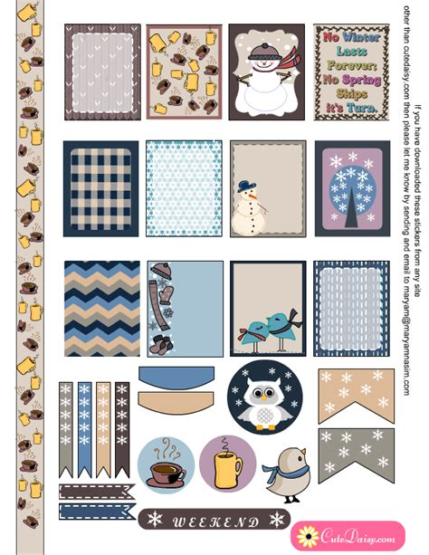 printable eclp stickers winter stickers for erin condren and happy planner
