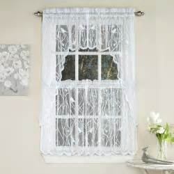 Kitchen Curtains Swags Knit Lace Bird Motif Kitchen Window Curtain Tiers Swags Or Valance White Ebay