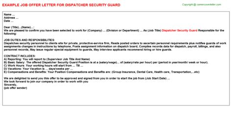 appointment letter format security guard security guard offer letters