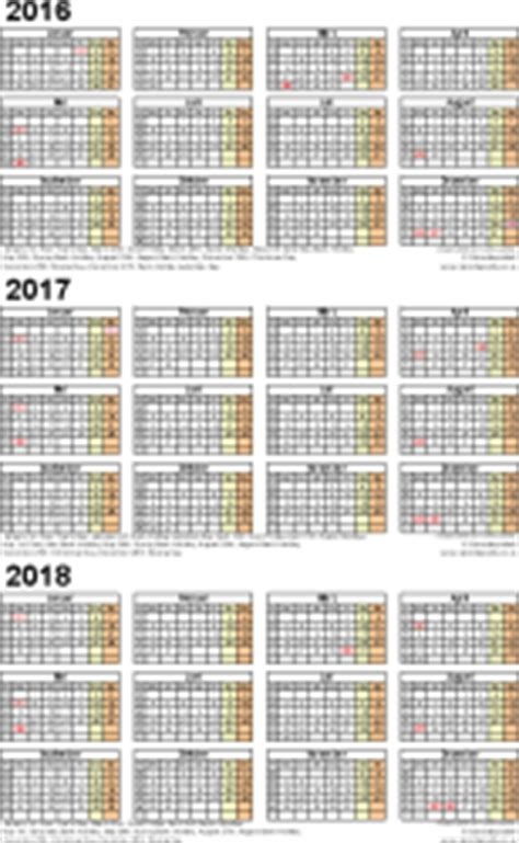 3 Year Calendar Three Year Calendars For 2016 2017 2018 Uk For Excel